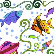 Colorful summertime fish art